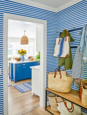 Blue mudroom connected to a kitchen-Richardson Custom Homes-Fort Myers–300x397jpg