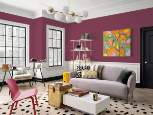 Bold walls in purple in living troom-7 tips to choosing paint colors-Richardson Custom Homes-Fort Myers-300x225jpg