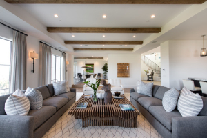 Living room with wood beams and spotlights-7 tips to choosing paint colors-Richardson Custom Homes-Fort Myers-300x200jpg
