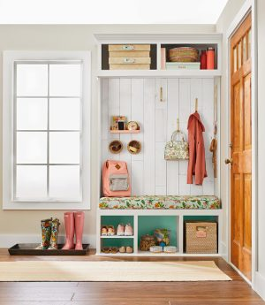 Organized room with cubbies near front door-7 questions to consider before adding a mudroom-Richardson Custom Homes-Fort Myers–300x345jpg