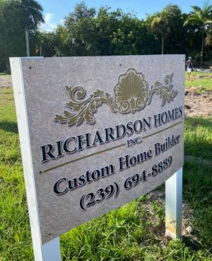 Richardson Homes sign-Richardson Custom Homes-Fort Myers-300x370jpg