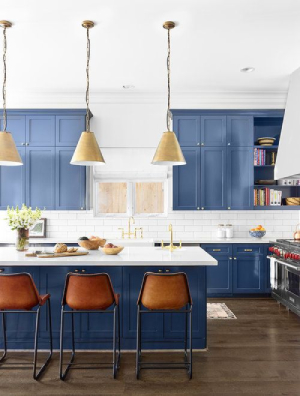 blue pop of color in kitchen-7 design trends to carry into the new year-Richardson Custom Homes-Fort Myers-300x396jpg