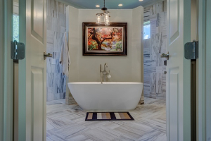 contemporary soaking tub with walk around shower-Bathroom design Ideas-Richardson Custom Homes-Fort Myers-300x200