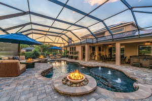 outdoor living room with fire features around pool-Five Fire Features to Brighten Any Home-Richardson Custom Homes-Fort Myers–300x200jpg